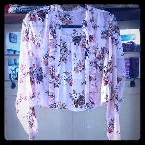 M Sheer Button Crop Blouse Cream Blush with Flower